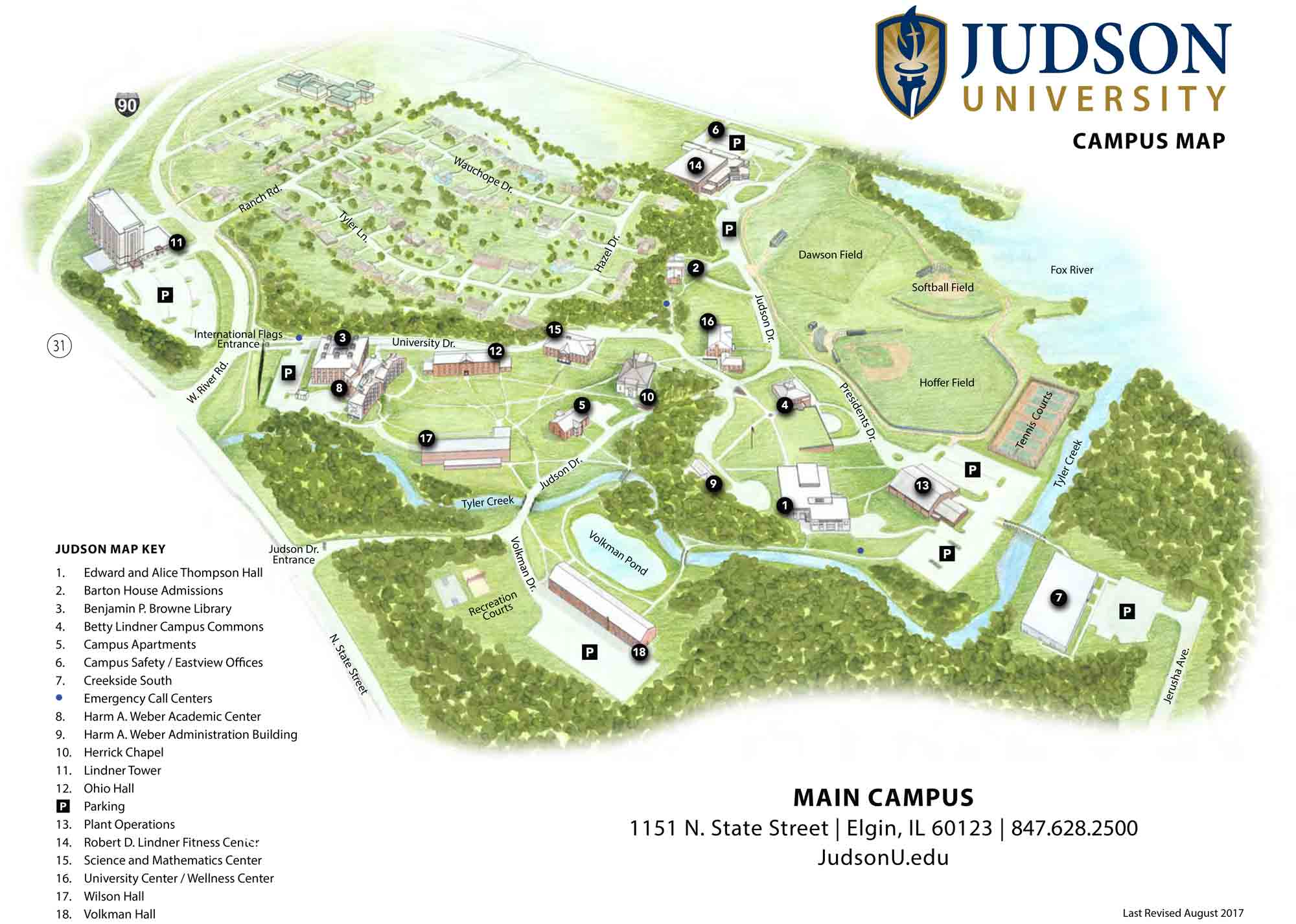 Rockford University Campus Map.Map Directions Judson University Christian College